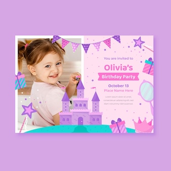 Invitation D'anniversaire Princesse Plate Avec Photo Vecteur Premium