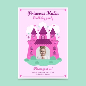 Invitation d'anniversaire princesse plate avec photo