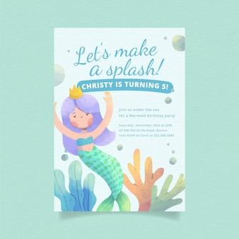 Invitation d'anniversaire de sirène aquarelle peinte à la main