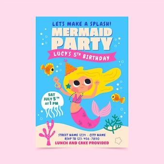 Invitation d'anniversaire de sirène de dessin animé