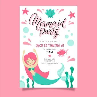 Invitation d'anniversaire de sirène dessinée à la main