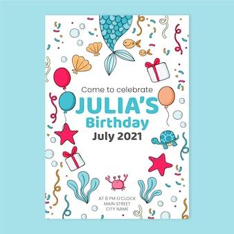 Invitation d'anniversaire de sirène d'enfants dessinés à la main