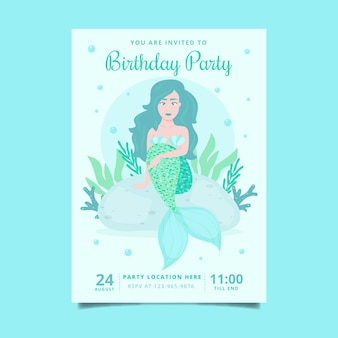 Invitation d'anniversaire de sirène plate bio