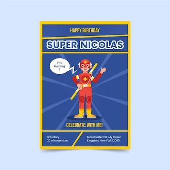 Invitation d'anniversaire de super-héros design plat