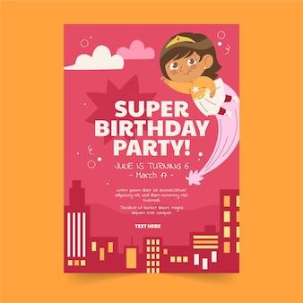 Invitation d'anniversaire de super-héros plat bio
