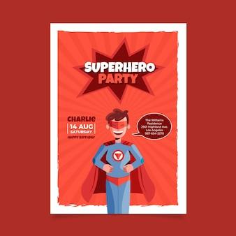 Invitation D'anniversaire De Super-héros Plat Vecteur Premium