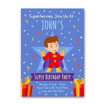 Invitation d'anniversaire de super-héros plat