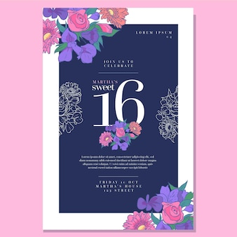 Invitation d'anniversaire sweet sixteen
