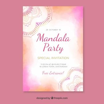 Invitation aquarelle rose dans le style mandala