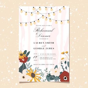 Invitation au dîner de répétition avec un joli fond clair floral et de la ficelle