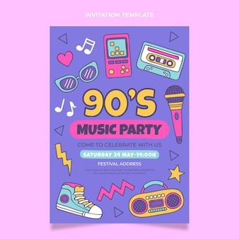 Invitation au festival de musique des années 90 dessinée à la main