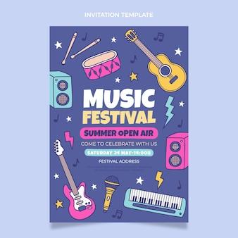 Invitation au festival de musique colorée dessinée à la main