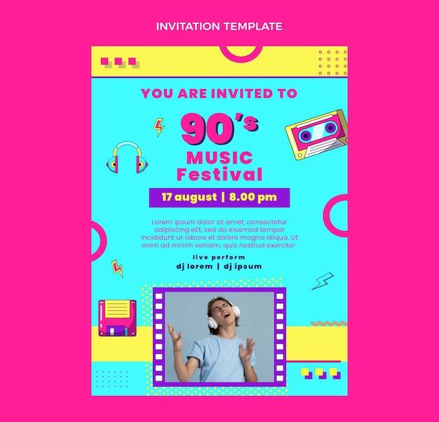Invitation au festival de musique design plat des années 90