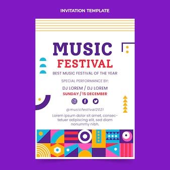 Invitation au festival de musique en mosaïque design plat