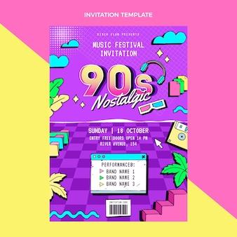 Invitation au festival de musique nostalgique des années 90 dessinée à la main
