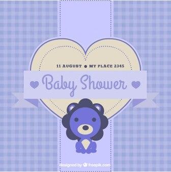 Invitation de baby shower bleu avec lion