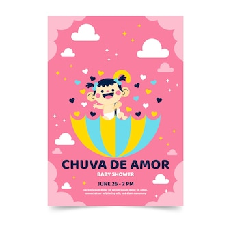 Invitation de baby shower de chuva de amor de dessin animé