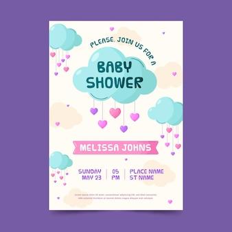 Invitation de baby shower de chuva de amor plat bio