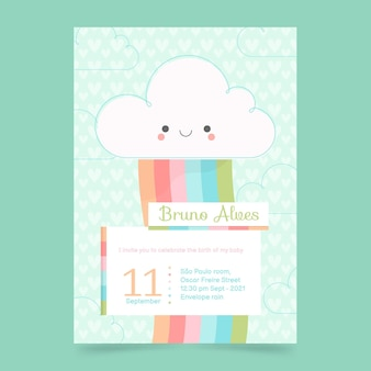 Invitation de baby shower de chuva de amor plat bio