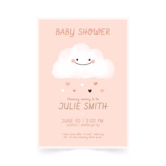 Invitation de baby shower de jolie chuva de amor peinte