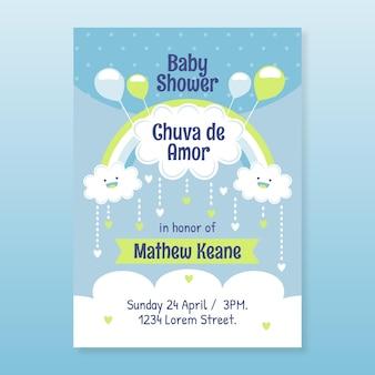 Invitation de baby shower de jolie chuva de amor plat bio
