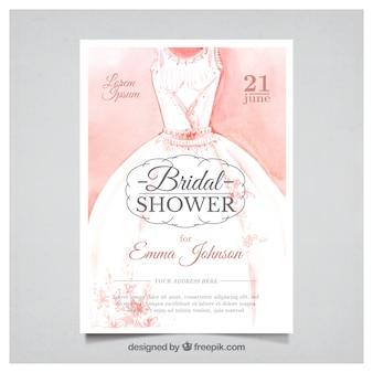 Invitation de bachelorette aquarelle avec robe de mariage