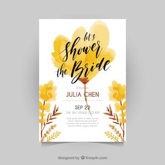 Invitation de bachelorette avec des fleurs dans les tons bruns et jaunes
