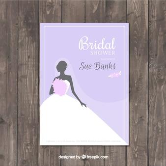 Invitation de bachelorette pourpre avec robe de mariée