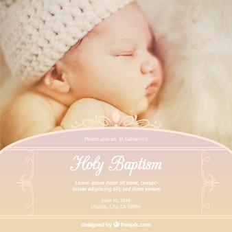 Invitation de baptême mignonne