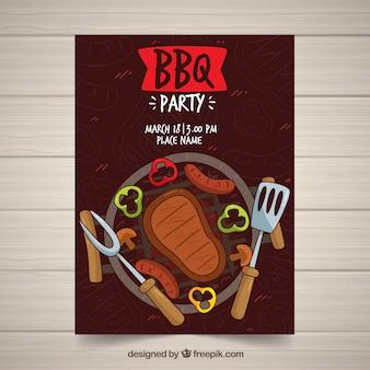 Invitation barbecue dessinés à la main