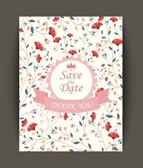 Invitation de belles fleurs vintage