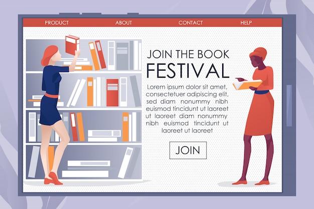 Invitation de la bibliothèque sur la page de destination mobile de bookfest