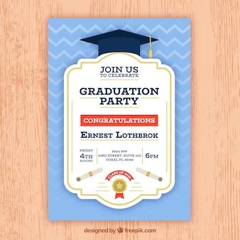 Invitation bleue de fête de remise des diplômes