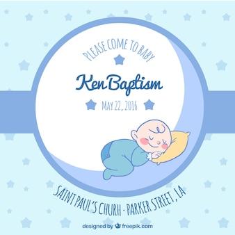 Invitation bleue pour le baptême