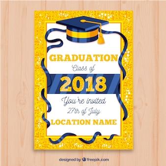 Invitation brillante de fête de remise des diplômes