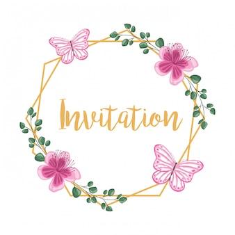 Invitation de cadre décoratif de fleurs