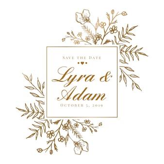 Invitation de cadre floral de mariage doré dessiné belle main