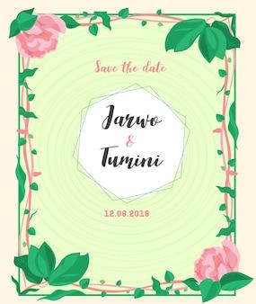 Invitation cadre mariage floral vert