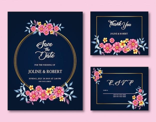 Invitation avec cadres et fleurs roses