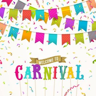 Invitation de carnaval avec guirlande de drapeau multicolore.