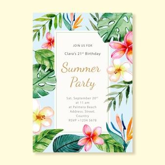 Invitation de carte d'anniversaire de fête d'été