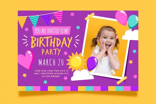 Invitation de carte d'anniversaire pour enfants avec photo