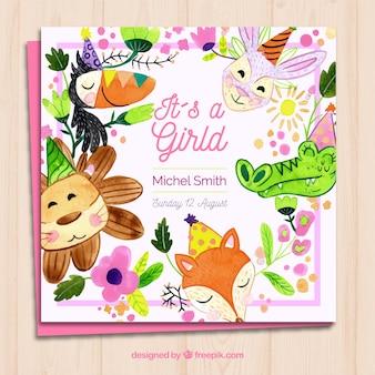 Invitation de carte bébé fille avec des animaux marrants dans un style aquarelle