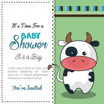 Invitation carte de douche de bébé avec bull desing
