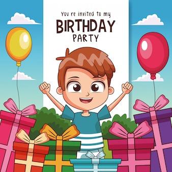 Invitation de carte de fête d'anniversaire pour enfants