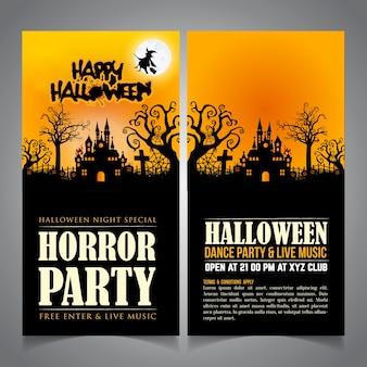 Invitation de carte de halloween. carte de halloween. carte d'illustration de halloween.