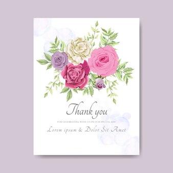 Invitation de carte de mariage avec de belles fleurs à l'aquarelle
