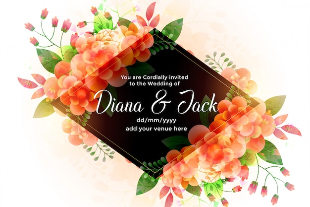 Invitation de carte de mariage de belles fleurs