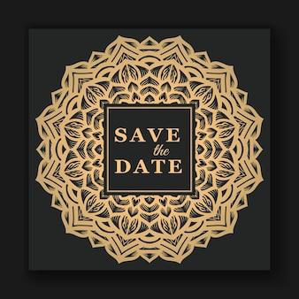 Invitation de carte de mariage élégante avec modèle de mandala