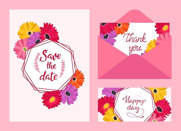 Invitation de carte de mariage avec ensemble de motifs floraux, illustration vectorielle, date de sauvegarde avec bordure de cadre fleuri, voeux de célébration élégant